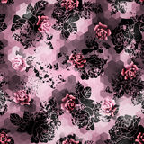 Grunge roses on pink cubes background Royalty Free Stock Image