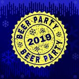 Scratched BEER PARTY Stamp Seal on Winter Background vector illustration
