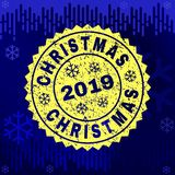 Rubber CHRISTMAS Stamp Seal on Winter Background royalty free illustration