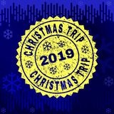 Rubber CHRISTMAS TRIP Stamp Seal on Winter Background royalty free illustration