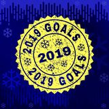Rubber 2019 GOALS Stamp Seal on Winter Background royalty free illustration