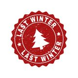 LAST WINTER Scratched Stamp Seal with Fir-Tree royalty free illustration