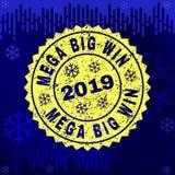 Scratched MEGA BIG WIN Stamp Seal on Winter Background stock illustration