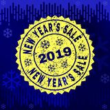 Textured NEW YEAR`S SALE Stamp Seal on Winter Background stock illustration