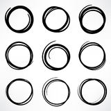Grunge round shape set of scribble circles, hand drawn doodle sk Stock Photos