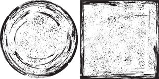 Grunge round and square frames texture. Vector