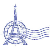 Grunge round stamp with Eiffel Tower Royalty Free Stock Image