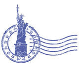 Grunge round stamp with Statue of Liberty Stock Image