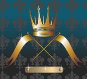 Grunge Royal crown vector with flags Stock Photography