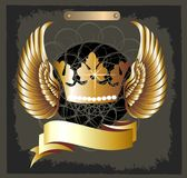 Grunge Royal crown vector with wings royalty free illustration