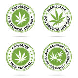 Grunge rubber of marijuana set in green illustration Royalty Free Stock Photos