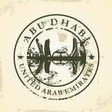 Grunge rubber stamp with Abu Dhabi, UAE Stock Photo