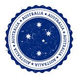 Grunge rubber stamp with Australia flag. Vintage travel stamp with circular text, stars and national flag inside it. Vector illustration Royalty Free Stock Photo