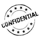 Grunge Rubber Stamp Confidential in Black Stock Images