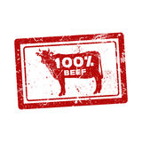 Grunge  rubber stamp with the cow and the text 100 percent beef. Inside Stock Image
