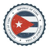 Grunge rubber stamp with Cuba flag. Vintage travel stamp with circular text, stars and national flag inside it. Vector illustration Stock Photo