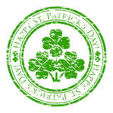Grunge rubber stamp with four-leaves clover. Vector illustrator of a grunge rubber stamp with four-leaves clover and text (happy st. Patrick's day written inside vector illustration