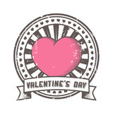 Grunge rubber stamp with heart. Valentine Stock Photos