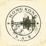 Grunge rubber stamp with Hong Kong, SAR. Vector illustration royalty free illustration