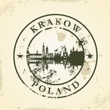 Grunge rubber stamp with Krakow, Poland Stock Image