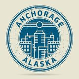 Grunge rubber stamp or label with text Anchorage, Alaska. Written inside, vector illustration Stock Photos