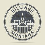 Grunge rubber stamp or label with text Billings, Montana. Written ine, vector illustration Stock Photos