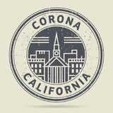 Grunge rubber stamp or label with text Corona, California. Written inside, vector illustration Royalty Free Stock Photos