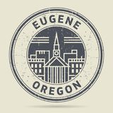 Grunge rubber stamp or label with text Eugene, Oregon Stock Images