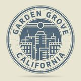Grunge rubber stamp or label with text Garden Grove, California. Written inside, vector illustration Royalty Free Stock Images