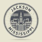 Grunge rubber stamp or label with text Jackson, Mississippi. Written inside, vector illustration Stock Images