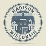 Grunge rubber stamp or label with text Madison, Wisconsin. Written inside, vector illustration Stock Images
