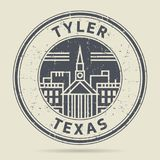 Grunge rubber stamp or label with text Tyler, Texas. Written inside, vector illustration Royalty Free Stock Photography
