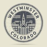 Grunge rubber stamp or label with text Westminster, Colorado. Written ine, vector illustration Royalty Free Stock Photography