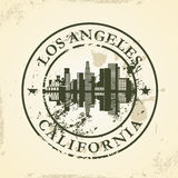 Grunge rubber stamp with Los Angeles, California. Vector illustration Royalty Free Stock Photography