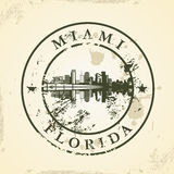 Grunge rubber stamp with Miami, Florida Royalty Free Stock Photos