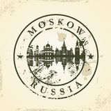 Grunge rubber stamp with Moskow, Russia Royalty Free Stock Images