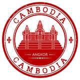 Grunge rubber stamp with the name of Cambodia Royalty Free Stock Image