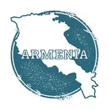 Grunge rubber stamp with name and map of Armenia. Grunge rubber stamp with name and map of Armenia, vector illustration. Can be used as insignia, logotype Stock Image