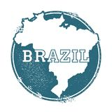 Grunge rubber stamp with name and map of Brazil. Grunge rubber stamp with name and map of Brazil, vector illustration. Can be used as insignia, logotype, label Stock Photo