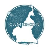 Grunge rubber stamp with name and map of. Grunge rubber stamp with name and map of Cameroon, vector illustration. Can be used as insignia, logotype, label Stock Image