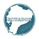 Grunge rubber stamp with name and map of Ecuador. Grunge rubber stamp with name and map of Ecuador, vector illustration. Can be used as insignia, logotype Royalty Free Stock Photography