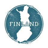 Grunge rubber stamp with name and map of Finland. Grunge rubber stamp with name and map of Finland, vector illustration. Can be used as insignia, logotype Stock Images