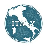 Grunge rubber stamp with name and map of Italy. Grunge rubber stamp with name and map of Italy, vector illustration. Can be used as insignia, logotype, label Stock Photography