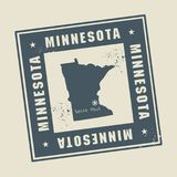 Grunge rubber stamp with name and map of Minnesota, USA stock illustration