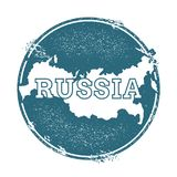 Grunge rubber stamp with name and map of Russian. Grunge rubber stamp with name and map of Russian Federation, vector illustration. Can be used as insignia Stock Image