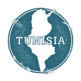 Grunge rubber stamp with name and map of Tunisia. Grunge rubber stamp with name and map of Tunisia, vector illustration. Can be used as insignia, logotype Royalty Free Stock Photos