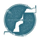 Grunge rubber stamp with name and map of Western. Grunge rubber stamp with name and map of Western Sahara, vector illustration. Can be used as insignia Stock Image