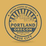 Grunge rubber stamp with name of Portland, Oregon Stock Images