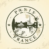 Grunge rubber stamp with Paris, France Stock Photos