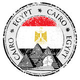 Grunge rubber stamp with Pyramid and the word Cairo, Egypt inside,  Royalty Free Stock Photos